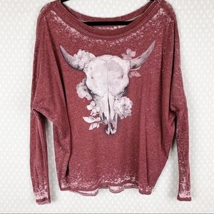 Chaser   pink burnout graphic print skull top
